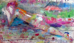 Odalisque, colorful abstract, nude, figure, landscape