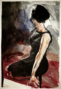 Fruitless, figure, woman in black dress, sexy fashionable black red grey