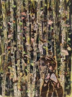 Persian Forest, dark patterns, birch trees female figure Arabic writing text