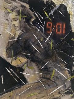 Nine-O-One, dark colors, monochromatic, moody female figure, maps, text, time
