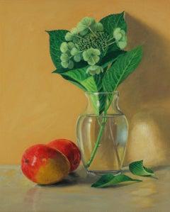 Mangos and Hydrangea, traditional still life, realistic