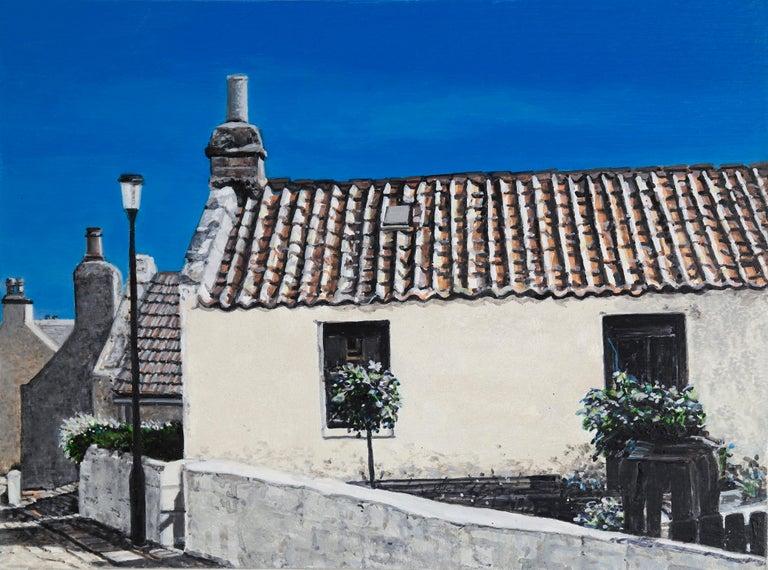 Agnes Murray Landscape Painting - Roanheads Scotland 1, oil on birch panel, rural architecture