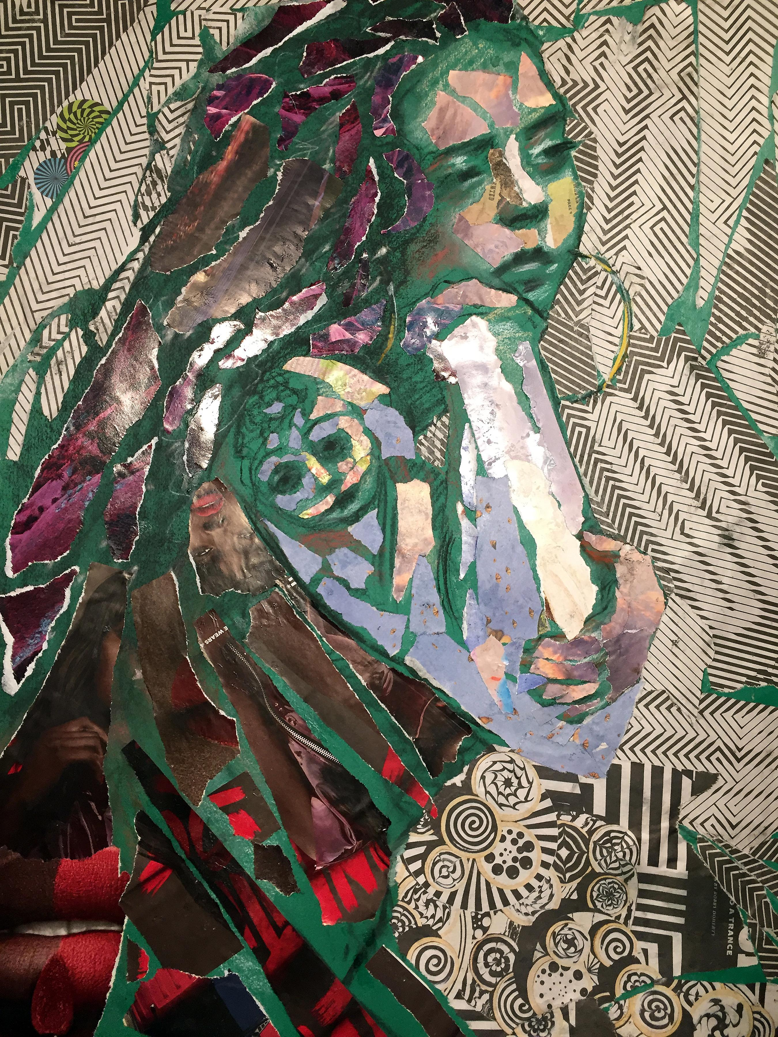 Green Girl with Tattoo, patterns, collage, disrupted realism, mixed media