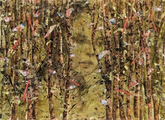 Red Birch,  disrupted realism, nature, woman, muted reds, mystery