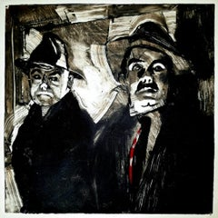The Killers 2, black and white monotype, dramatic, night, narrative