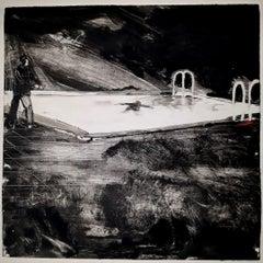 Sunset Boulevard, night scene, swimming pool, black and white
