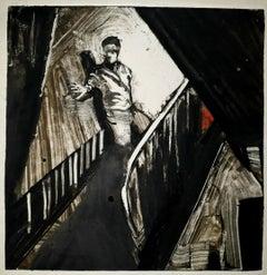 Kiss of Death, night scene, interior, black and white, dramatic narrative