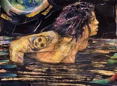 Dark Water, mystery, collage, figure, black yellow, night