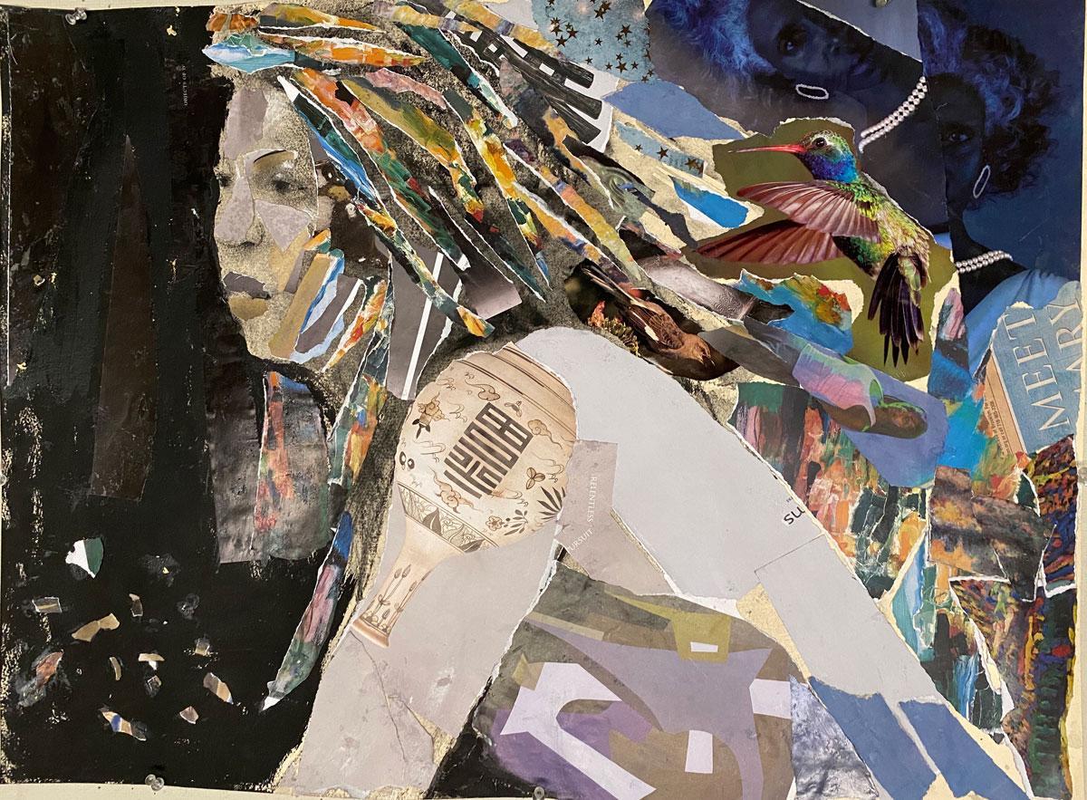 Hummingbird Halo, colorful, collage, figure, night