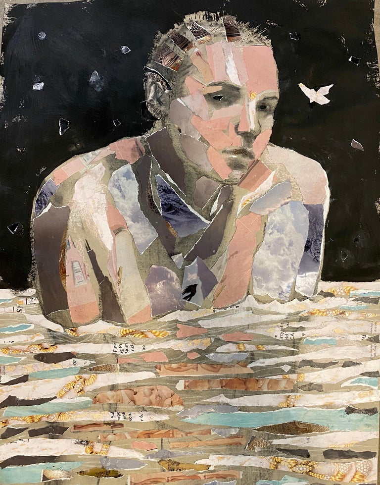 Audrey Anastasi Figurative Art - Night Aquatic, collage, muted color, mixed media, woman, charcoal,