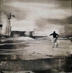 Dust Bowl, monotype, black and white, wpa style