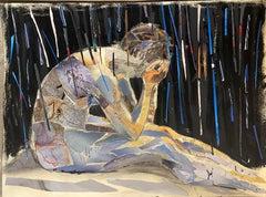 Rain, mystery, collage, figure, dark color, night cave painting random stripes