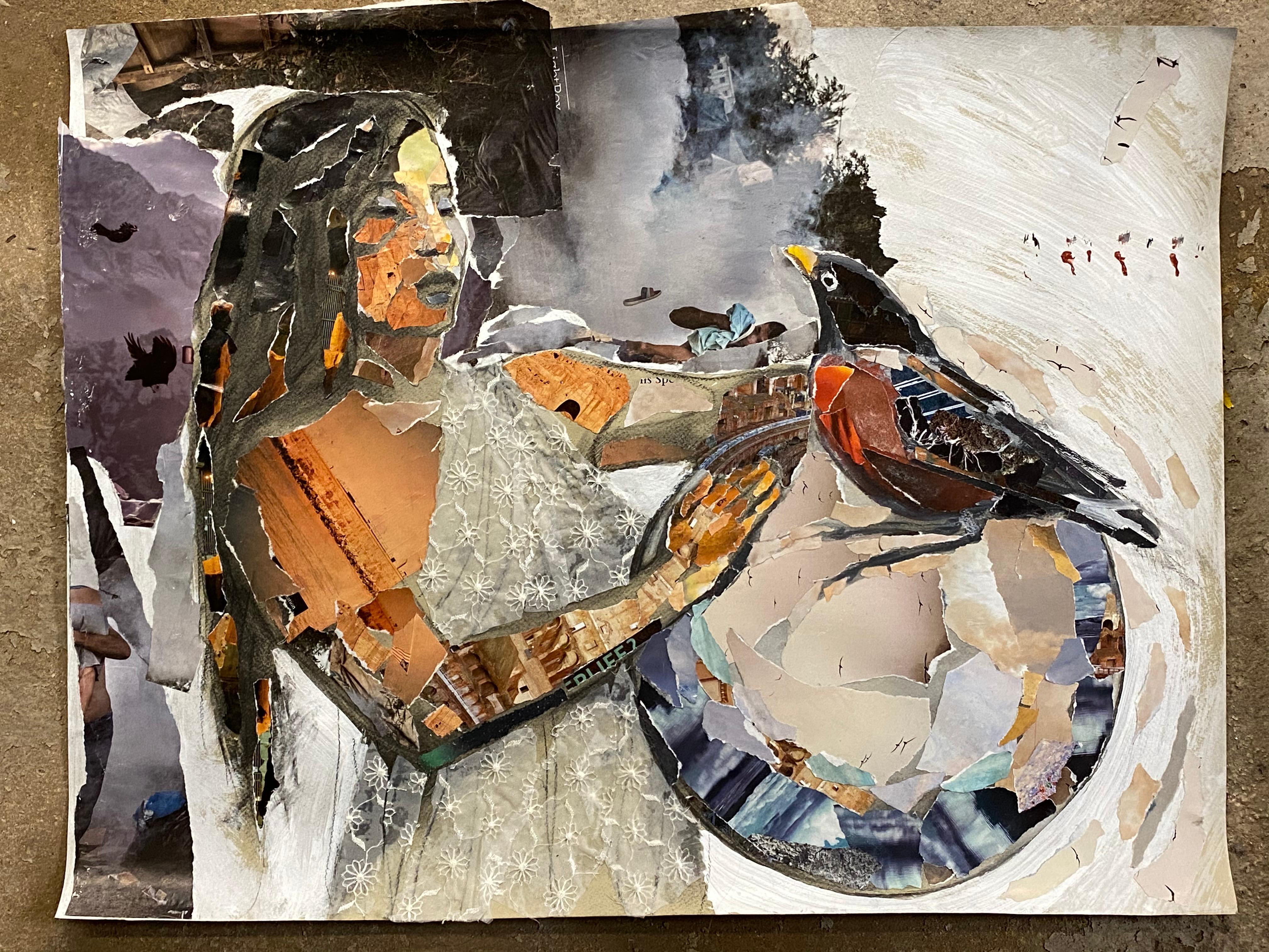 Gaia, mystery, collage, figure, fabric, mythology, bird