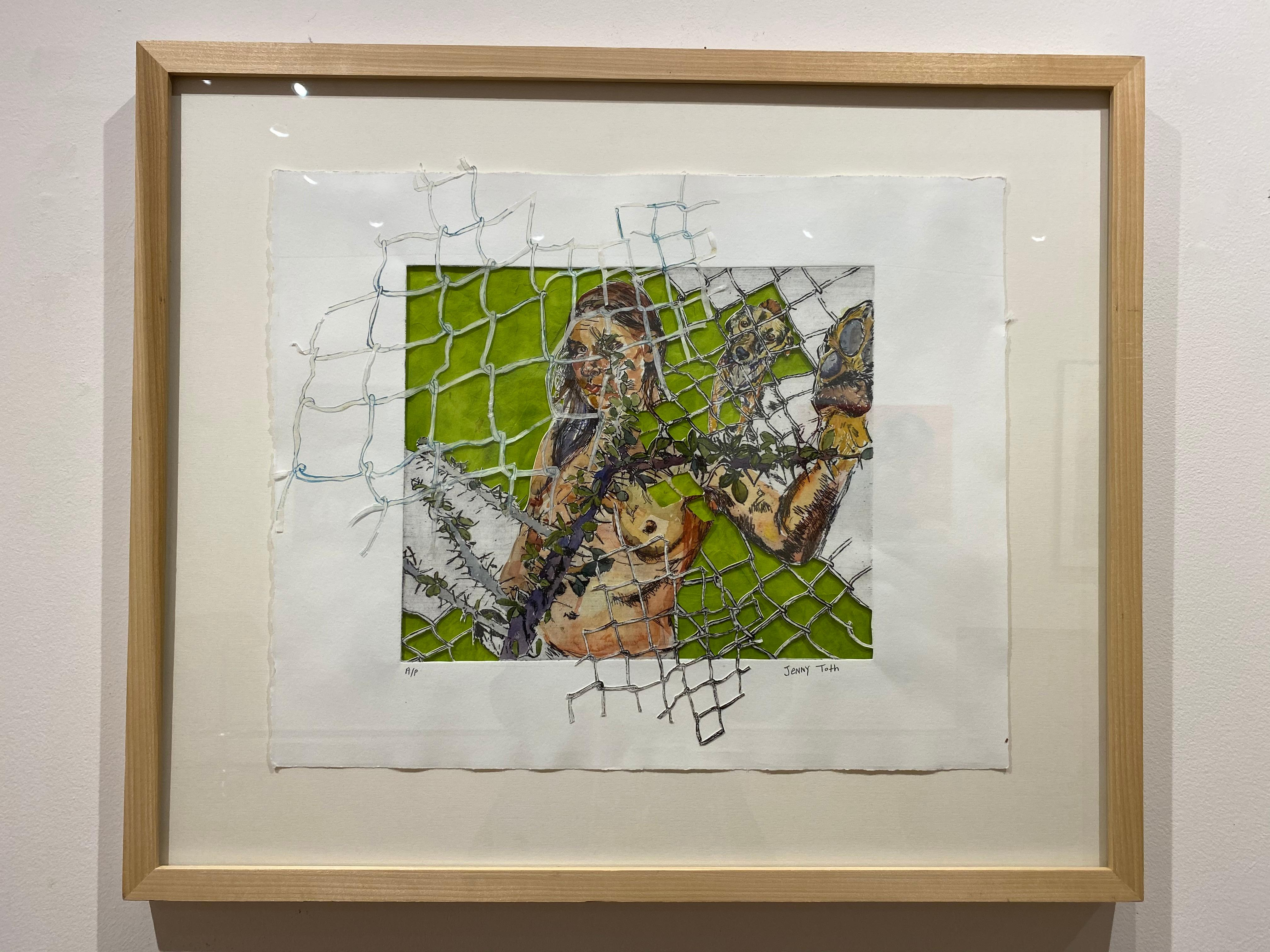 Inner Defenses and Fences, mixed media cut paper and etching, nude, dog