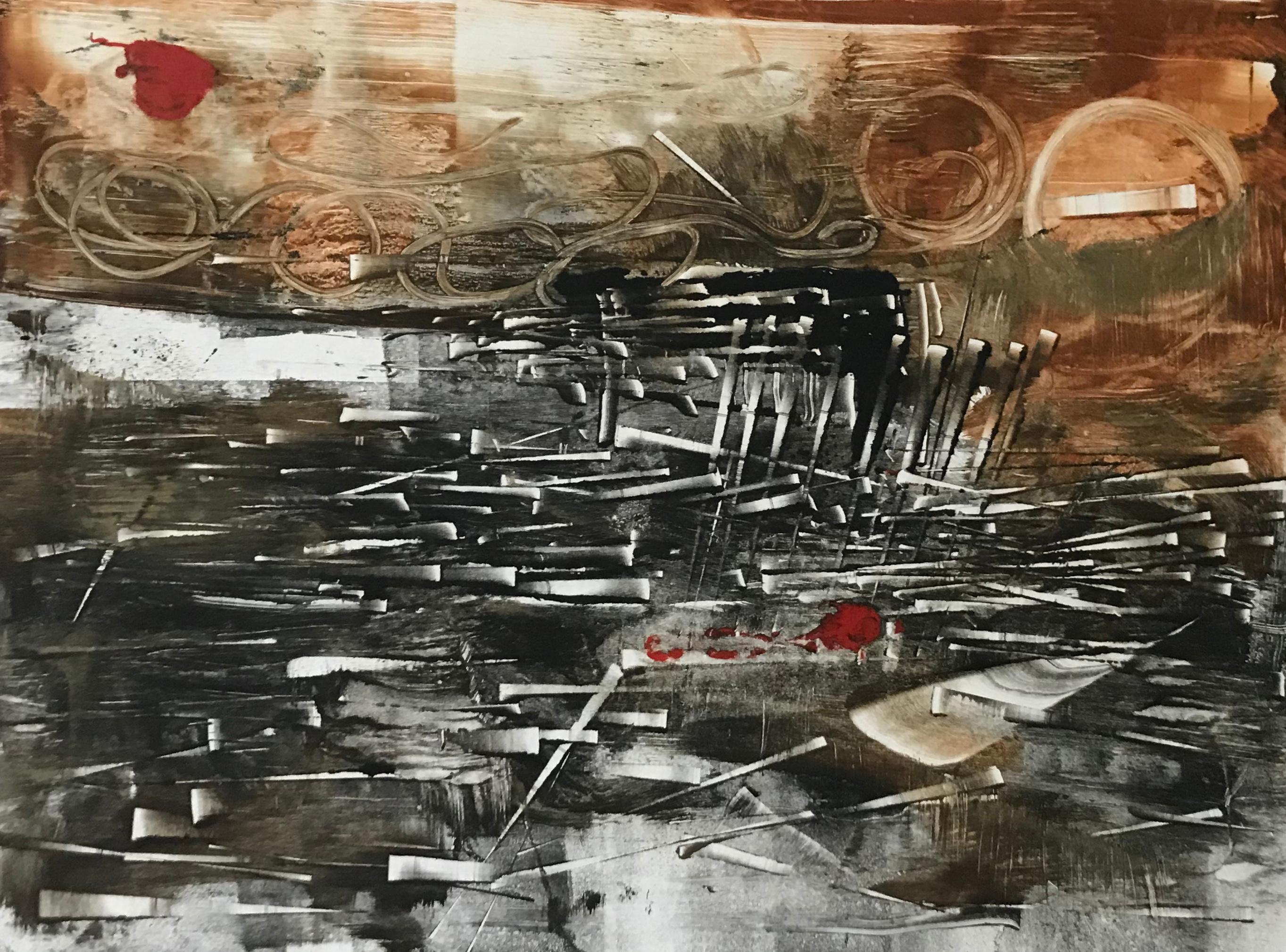 The Awakening, abstract monotype, earth tones
