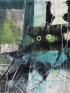 Green Light Go, abstact monotype, abstract