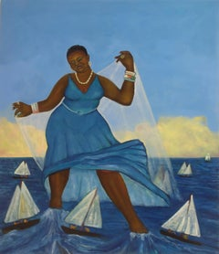 Navigator, bright color oil painting of figure, boats, water