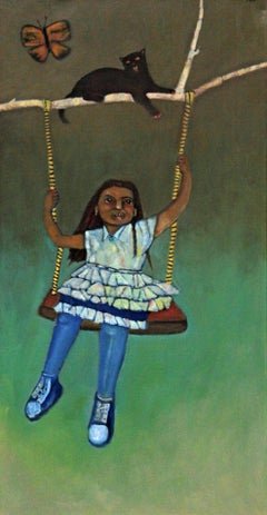 Primavera, colorful child on a swing oil painting