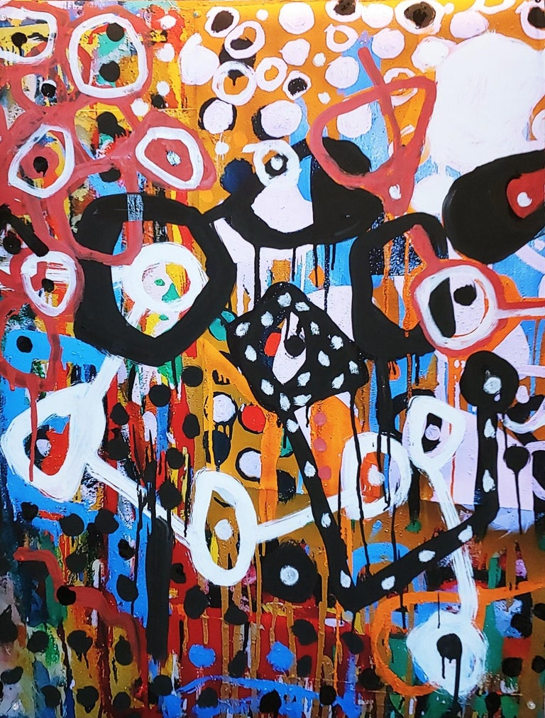 Danny Simmons Abstract Painting - Freefall, colorful abstraction Neo- African, oil on printed paper
