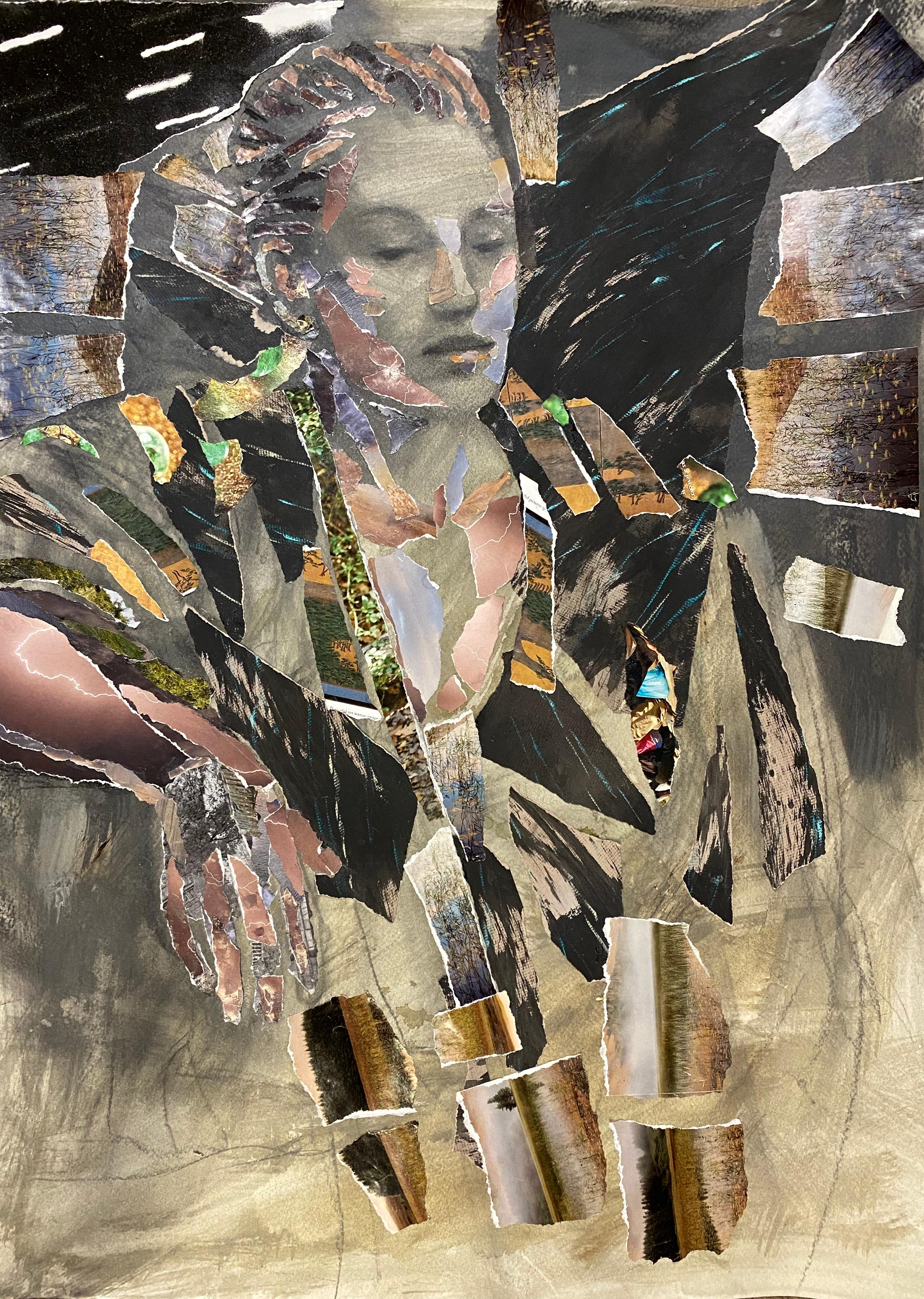 Elsewhere, figure, collage, disrupted realism