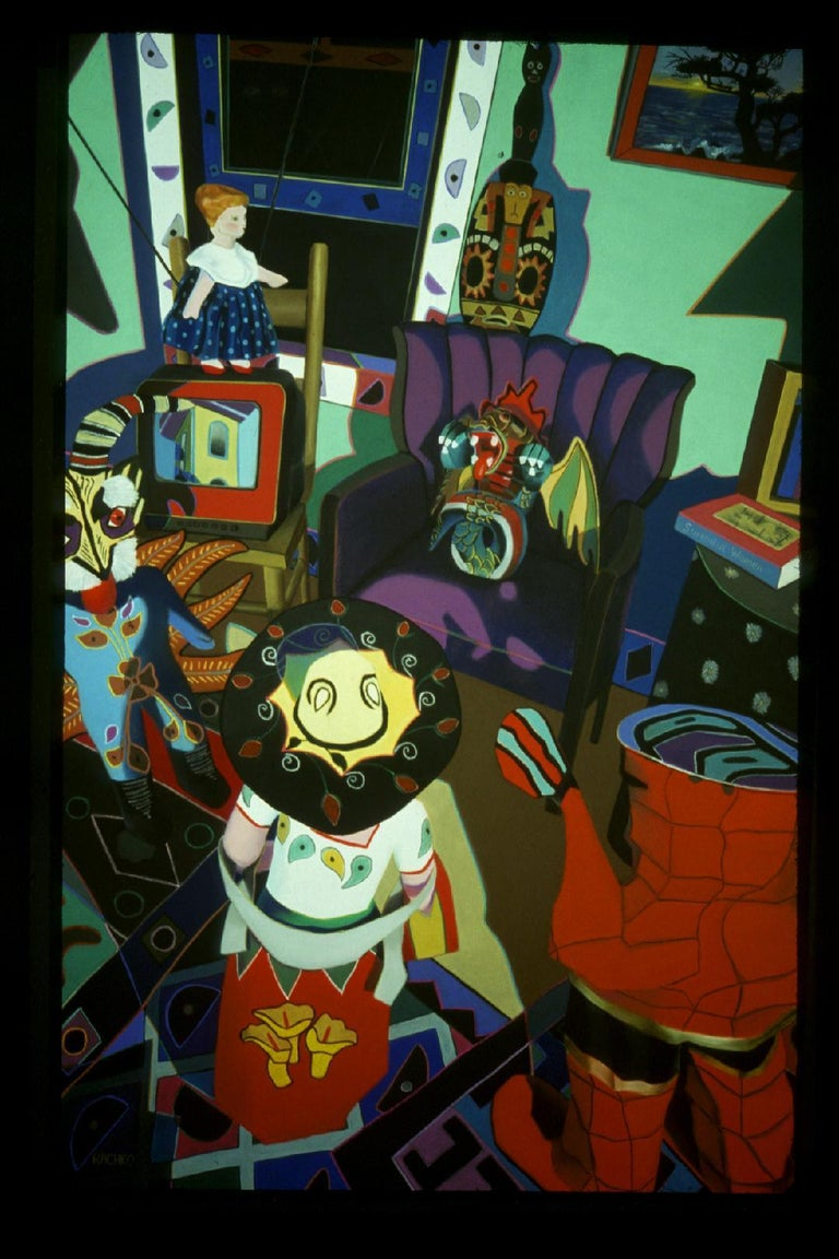 Barbara Rachko Still-Life Painting - Practical Advice on Waiting, bright colors, domestic, Latin objects