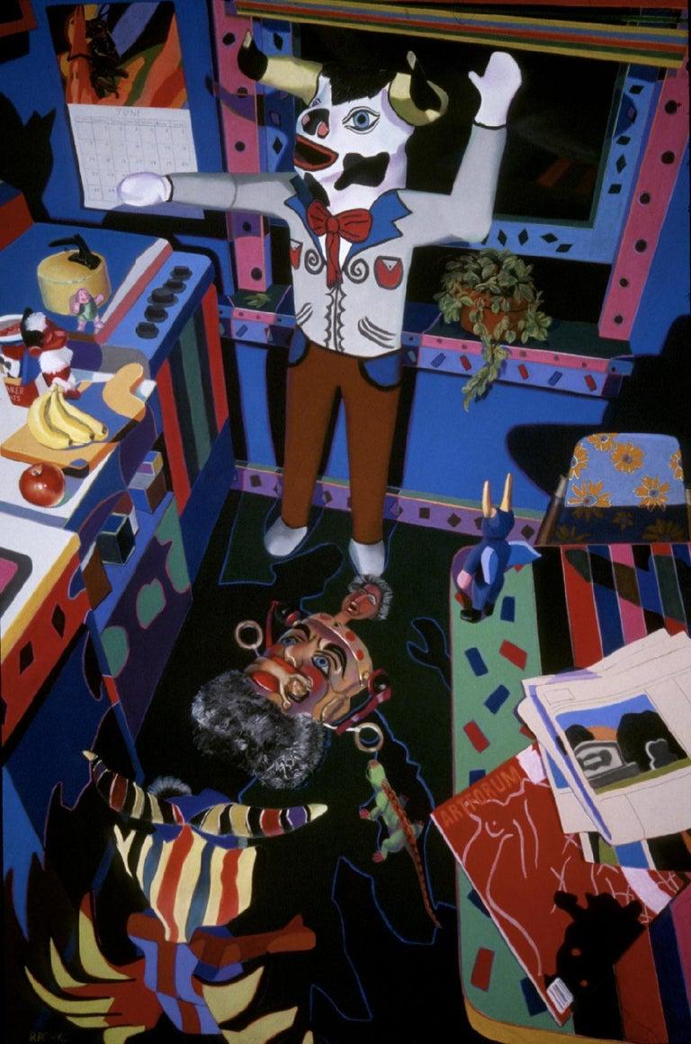Barbara Rachko Interior Art - He Was So in Need of Botany, bright colors, domestic, Latin objects