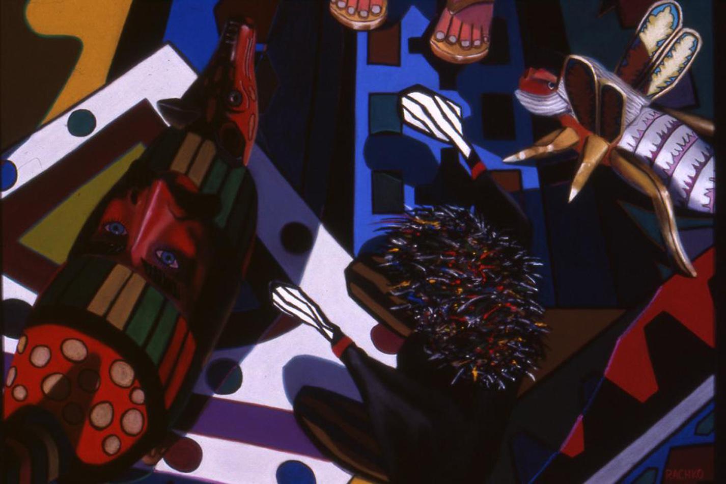 Scene Twentyone: Living Room bright colors, domestic, Latin objects