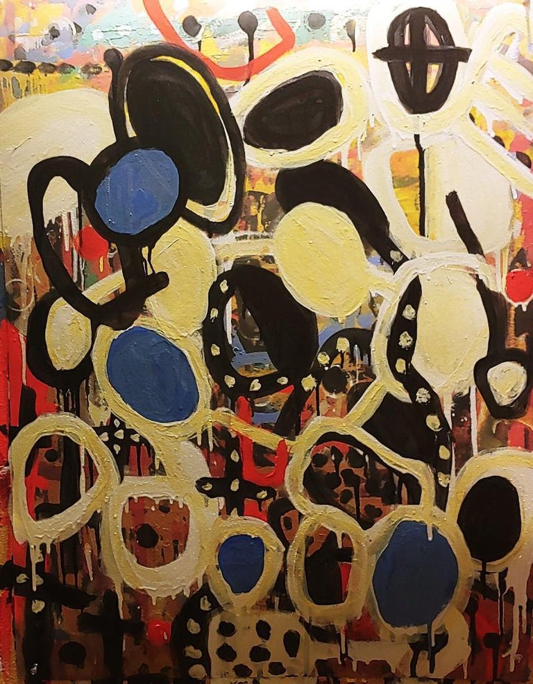 Danny Simmons Abstract Painting - Catch Up, colorful abstraction Neo- African, oil on printed paper