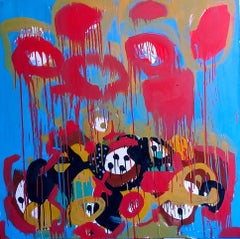 Flow, colorful abstraction Neo- African, oil on canvas