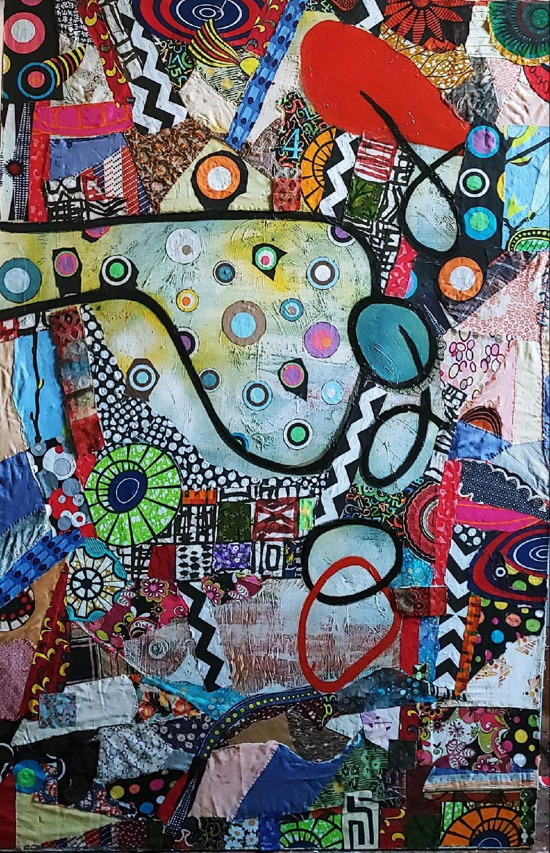 Fish Eyed Fool, colorful abstraction Neo- African, oil, fabric canvas