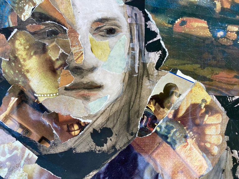 Vermeer Tapestry, collage with classical elements - Contemporary Art by Audrey Anastasi