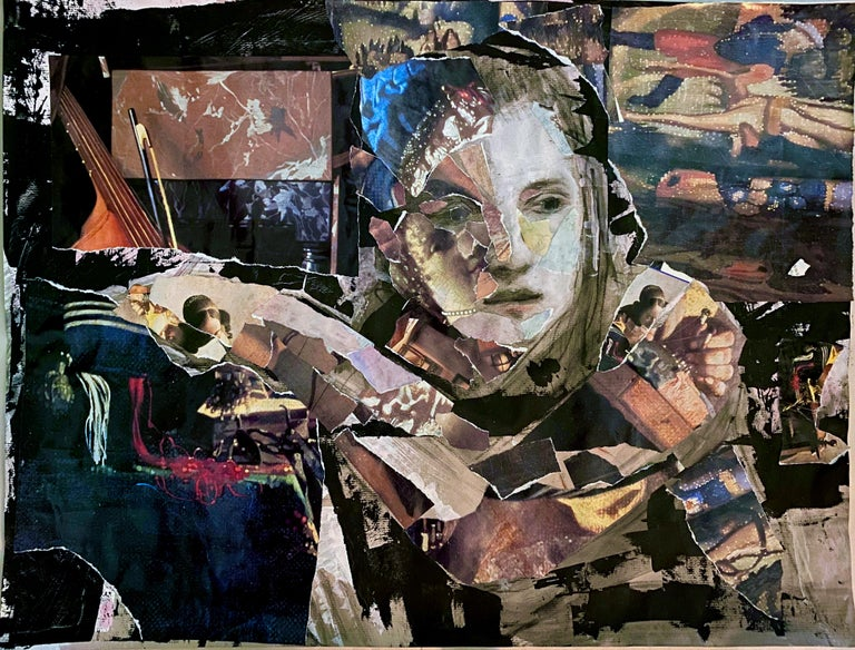 Audrey Anastasi Figurative Art - Vermeer Tapestry, collage with classical elements