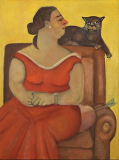 Lover Boy, colorful humorous woman and Cat