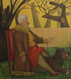 Lemon Winter, colorful humorous woman and dog