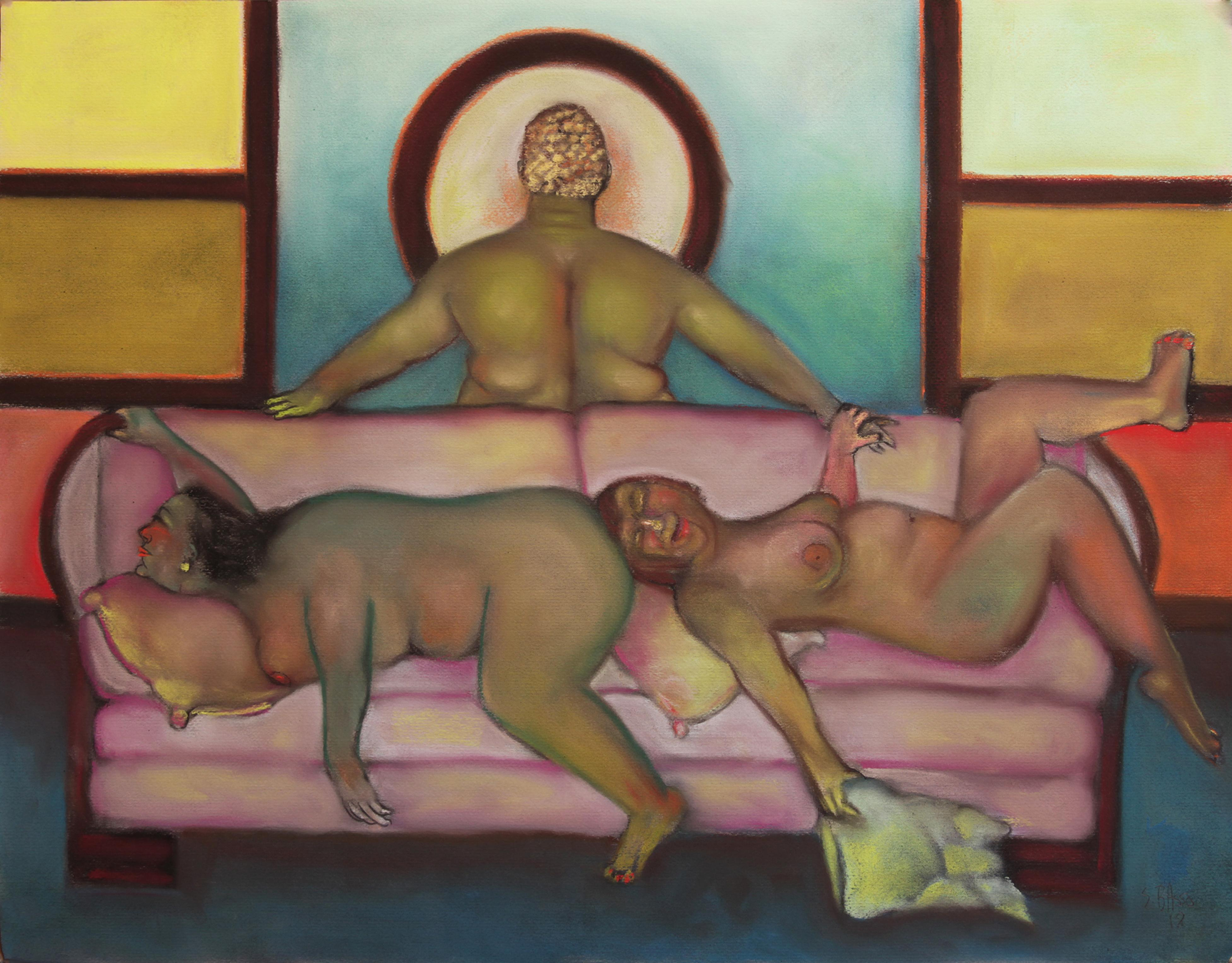 Pillow Fight, colorful humorous nude women