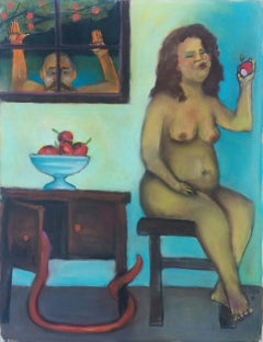 Eden Lockdown, colorful humorous nude woman with apple and snake