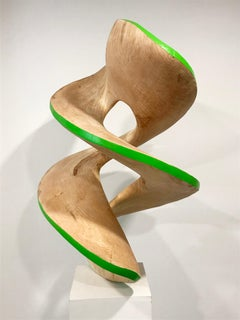 Spiral#3-Green, large maple sculpture