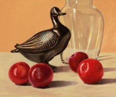 Duck and Plums, super realism, colorful, object, still life