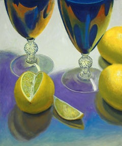 Blue Glasses and Lemons, super realism, colorful, object, still life
