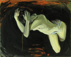 Traveler, oil painting of mysterious nude figure,
