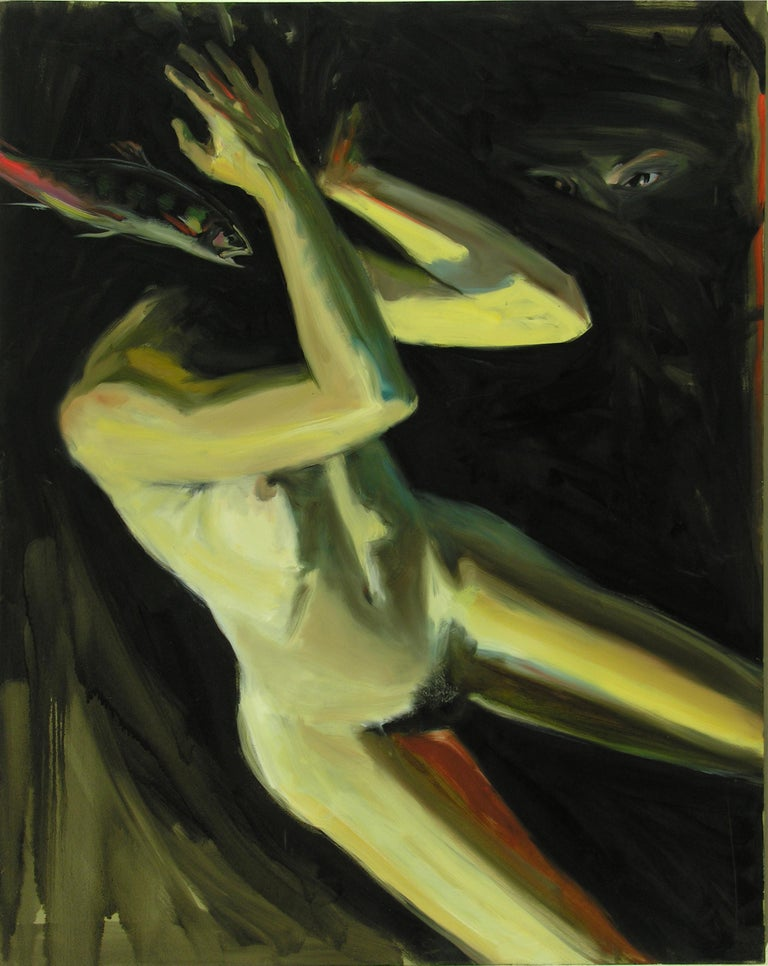 Audrey Anastasi Figurative Painting - Watcher, oil painting of mysterious falling figure,  eyes, dark space