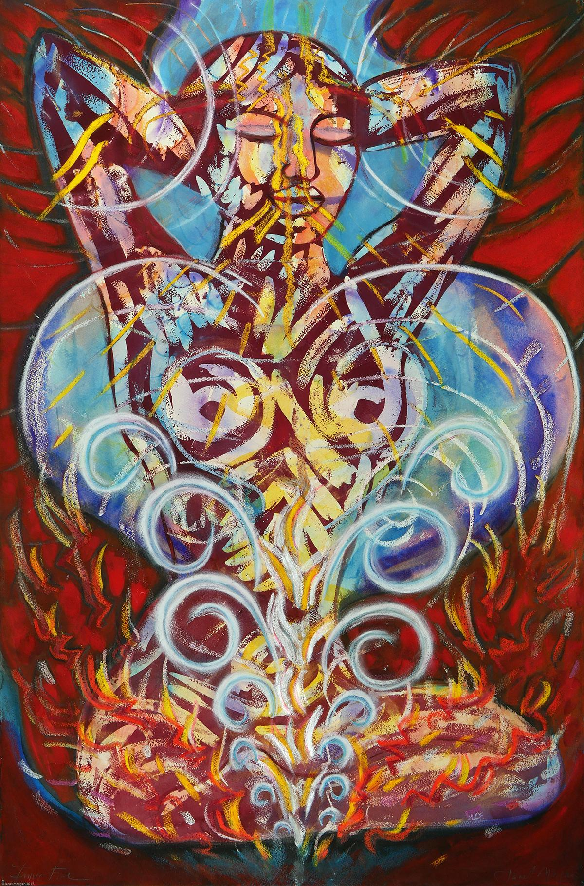 Inner Fire, mythical, spiritual, energy, colorful, watercolor on archival paper
