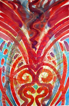 Hot Core, mythical, spiritual, abstract patterns, colorful, red, watercolor