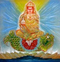 Kuan Yin, Goddess of Compassion, mythical, spiritual,  acrylic banner painting.