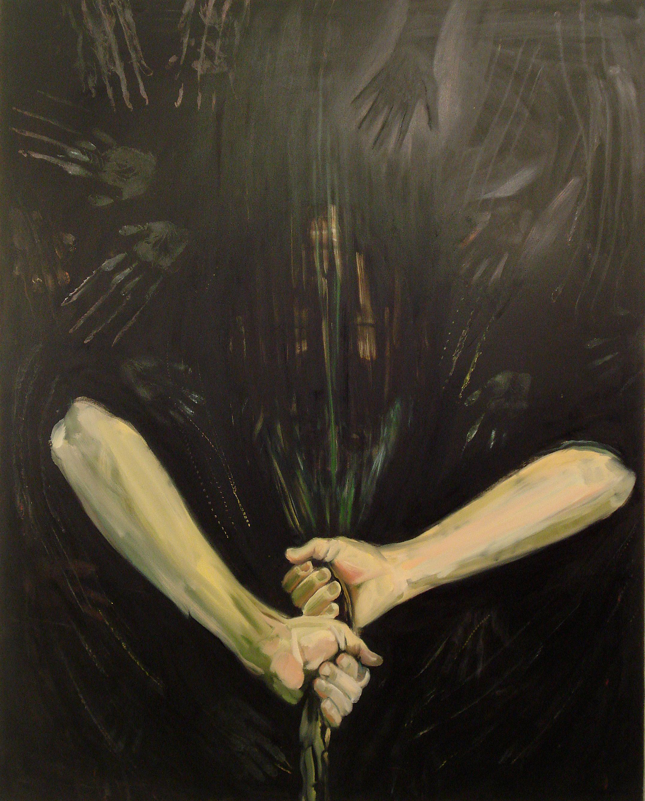 In Obscura, dark, symbolic, oil painting, mysterious, surrealistic hands