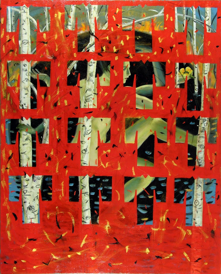 Audrey Anastasi Abstract Painting - Red Kimono Matrix, colorful, enigmatic pattern