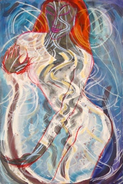 Palm to Palm Again, spiritual, abstract healing goddess, blues, energy fields,
