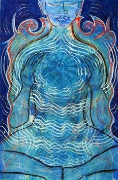 Open Heart, Vibrant blues, Eastern spiritual, figure