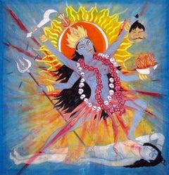 Kali, colorful, bold, spiritual, East Indian influence, fire, goddess
