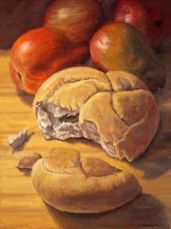 Bread and Pears super realism, colorful, object, traditional still life